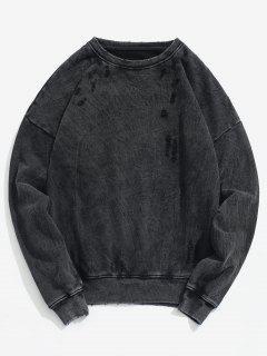 Drop Shoulder Pullover Distressed Sweatshirt - Black M