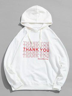 Casual Letter Printed Pullover Hoodie - White L
