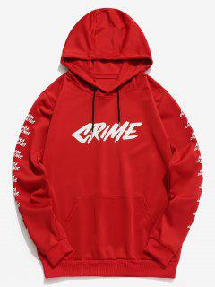 Contrast Letter Pullover Hoodie - Red Xs