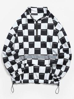 Half Zipper Reflective Strip Checked Hoodie - Black Xl
