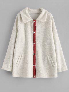 ZAFUL Snap Button Piping Faux Fur Coat - White M