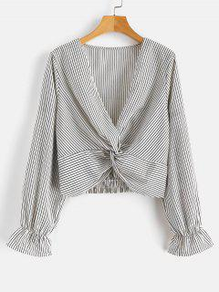 Blouse Low Cut à Rayures Sur Le Devant - Multi-a M