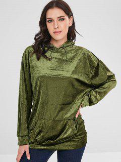 Front Pocket Velvet Longline Hoodie - Green M