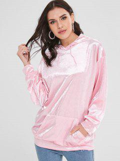 Front Pocket Velvet Longline Hoodie - Pink M