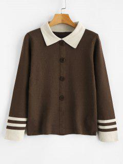 Button Embellshed Turn Down Collar Sweater - Coffee