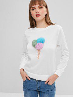 Crew Neck Pompoms Ice Cream Sweatshirt - White S