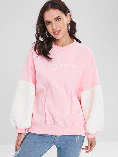 Letter Embroidered Fluffy Insert Sweatshirt - Pink