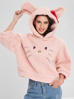Fluffy Cat Embroidered Bowknot Hoodie - Orange Pink