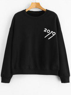 Number Print Fleece Sweatshirt - Black Xl