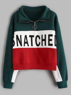 Letter Print Hit Color Half Zip Sweatshirt - Greenish Blue M