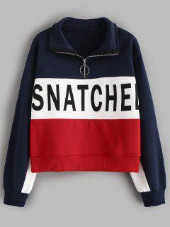 Letter Print Hit Color Half Zip Sweatshirt - Cadetblue L