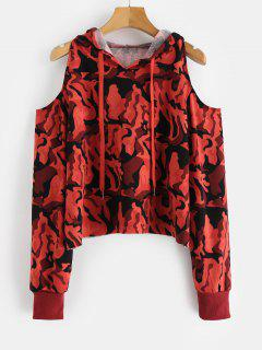 Camoflage Cold Shoulder Crop Hoodie - Chestnut Red S