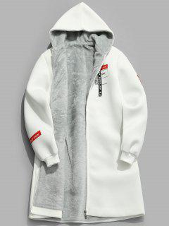 Manteau Lettre Graphique En Fausse Fourrure - Blanc S