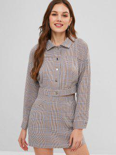 ZAFUL Gingham Shirt And Slit Skirt Set - Multi L