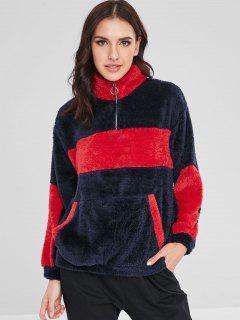 ZAFUL Kangaroo Pocket Two Tone Fluffy Sweatshirt - Dark Slate Blue L