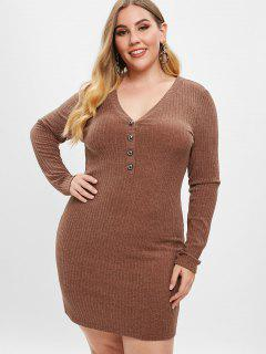 ZAFUL Plus Size Low Cut Knitted Dress - Brown L