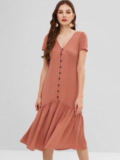 ZAFUL Flounce Midi Button Fly Dress - Dark Salmon S