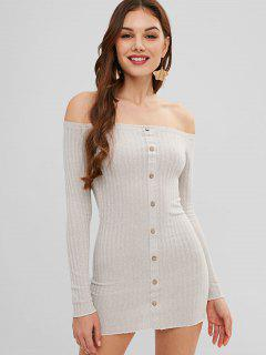 Long Sleeve Off Shoulder Mini Bodycon Dress - Light Gray S