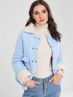 Snap Button Pockets Padded Jacket - Light Blue