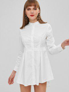 Solid Color Button Fly Shirt Dress - White S