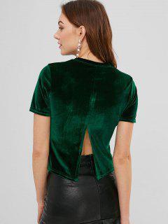 Camiseta De Terciopelo De Manga Corta Con Cuello Redondo - Verde Oscuro S