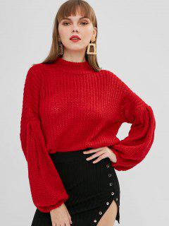 Pull Oversize à Manches Lanterne - Rouge