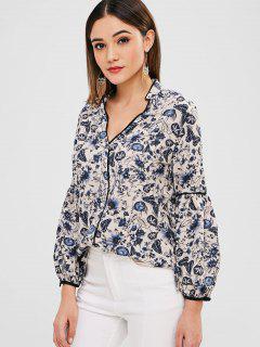 Floral Lantern Sleeve Blouse - Multi L