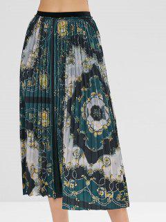Elastric Waist Floral Pleated Skirt - Multi S