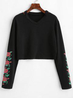 Floral Print Ripped Sweatshirt - Black L