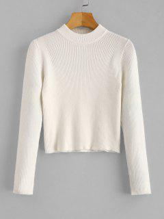 Mock Neck Cropped Pullover Sweater - White
