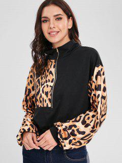Drop Shoulder Leopard Half Zip Sweatshirt - Black S