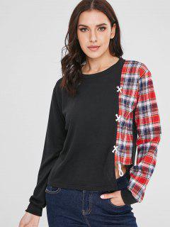 Contrast Plaid Print Asymmetric Sweatshirt - Black M