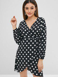 Polka Dot Tulip Hem Surplice Dress - Black L