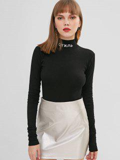 High Collar Long Sleeve Hook And Eye Bodysuit - Black S