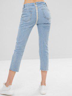 Zip Back Light Wash Cropped Jeans - Denim Blue L