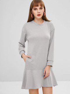 Pocket Long Sleeve Drop Waist Dress - Gray Xl