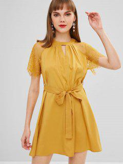 Keyhole Lace Sleeves Dress - Golden Brown L