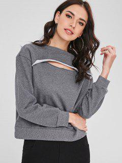 Cut Out Terry Pullover Sweatshirt - Gray M