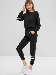 Striped Sweatshirt And Jogger Pants - Black M