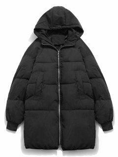 Solid Bread Padded Trench Coat - Black L