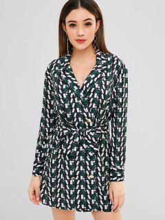 Lapel Geometric Print Dress - Multi S