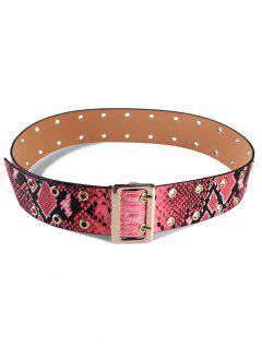 Double Grommet Faux Leather Waist Belt - Red