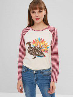 Raglan Sleeves Striped Graphic Tee - Blanched Almond Xl