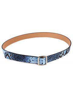 Snake Pattern Holeless Waist Belt - Blue