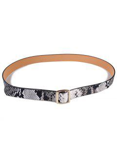 Snake Pattern Holeless Waist Belt - Gray