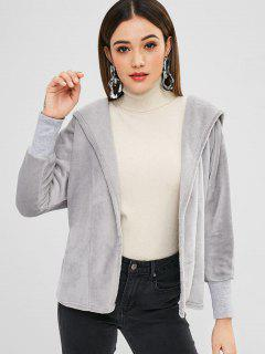 Velvet Open Front Hooded Coat - Gray Xl
