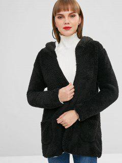 Fluffy Open Front Hooded Coat - Black 2xl