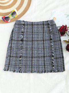 Fringed Tweed Skirt - Multi Xl
