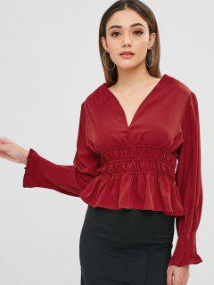 Smocked - Ruffle-Wickelbluse - Roter Wein S