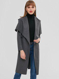 Longline Woolen Wrap Coat - Carbon Gray Xl